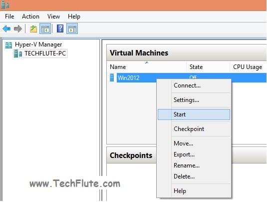 Start Virtual Machine in Hyper-V